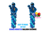 Cookie Monster Birthday Balloons Columns, Sesame Street Cake Table, Gift Table, DIY KIT Party
