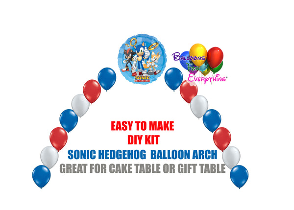 Sonic the Hedgehog Birthday Balloon Arch, Cake Table Gift Table, DIY KIT Party Supplies