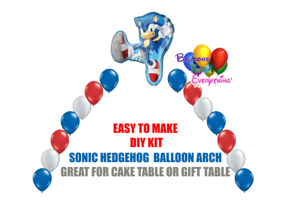 Sega Sonic the Hedgehog Birthday Balloon Arch, Cake Table, Gift Table, DIY KIT Party Supplies