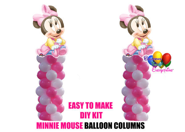 Baby Minnie Mouse Birthday Balloon Columns, Cake Table, Gift Table, DIY KIT Party Supplies