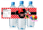 Red Minnie Mouse Birthday Party Water Bottle Labels
