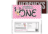 Baby Minnie Mouse 1st Birthday Candy Bar Wrapper