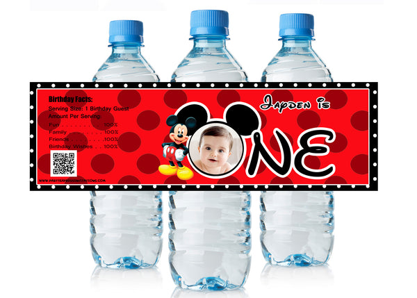 Cute Mickey Mouse 1st Birthday Water Bottle Labels