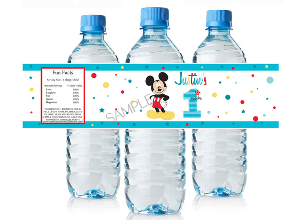 Mickey Mouse 1st Birthday Water Bottle Labels
