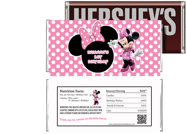 Pink Minnie Mouse Birthday Candy Bar Wrapper