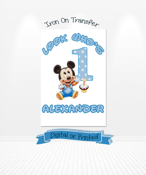 Baby Mickey Mouse 1st Birthday Iron On