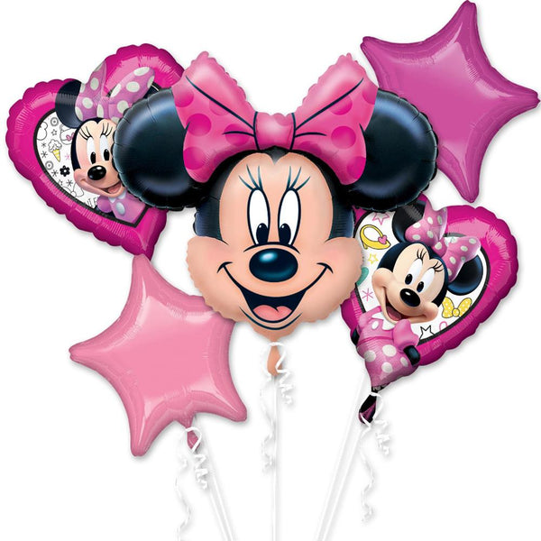 Pink Minnie Mouse Balloon Birthday Bouquet 5pc