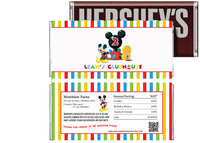 mickey mouse clubhouse birthday candy bar wrapper