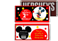Cute Mickey Mouse Birthday Candy Bar Wrapper