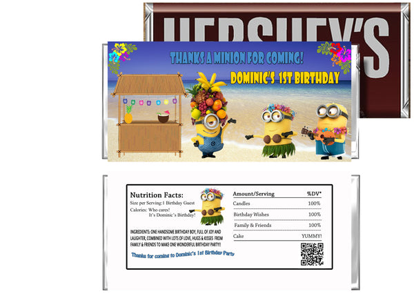 Minions Luau Birthday Party Candy Bar Wrappers