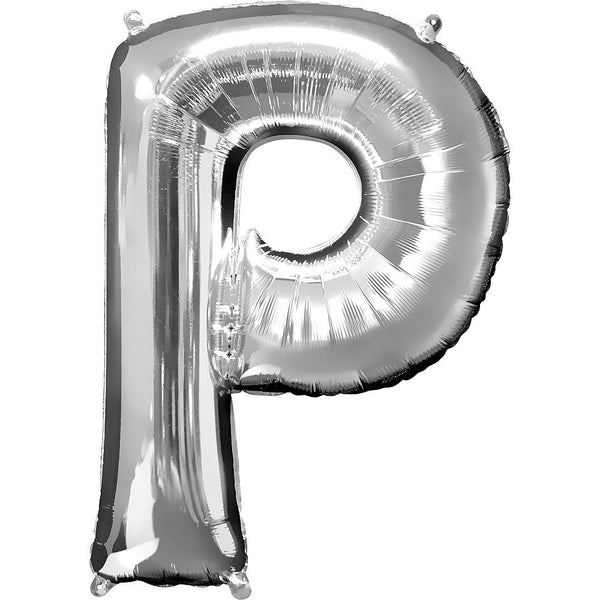 Giant Silver Letter P Balloon