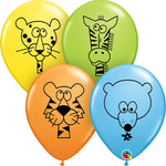 "11"" Jungle Animals Assorted Color Latex Balloons"