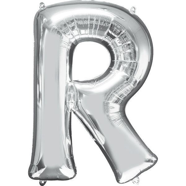 Giant Silver Letter R Balloon