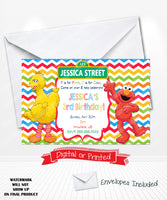 Elmo Birthday Invitations Chevron