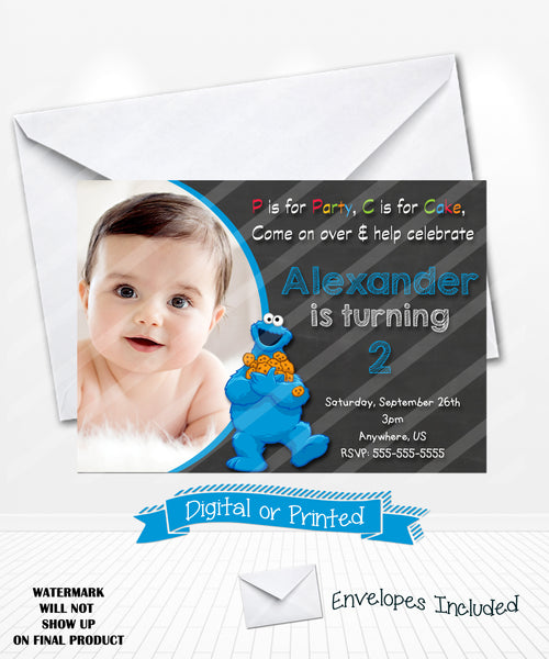 Chalkboard Cookie Monster Birthday Invitations Sesame Street