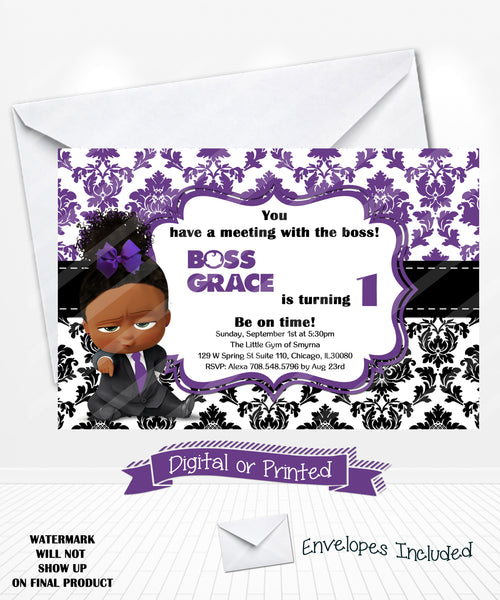 boss baby girl birthday invitation purple