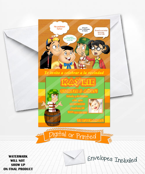 El Chavo La chilindrina Birthday Invitations