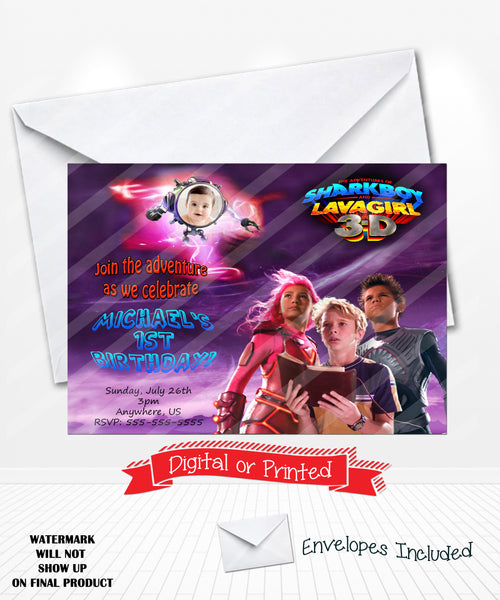 Sharkboy Lavagirl Birthday Party Invitations