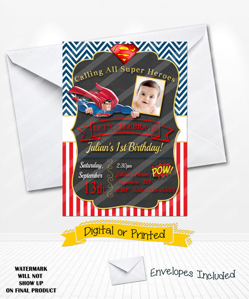 Superman Birthday Invitations Superhero