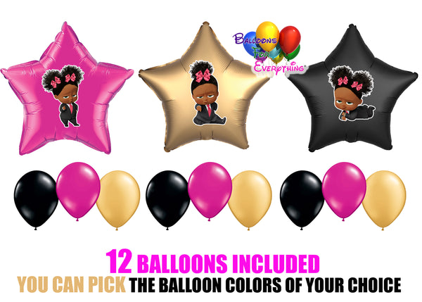 Boss Baby Dark Skinned Balloons Girl Pink Bow