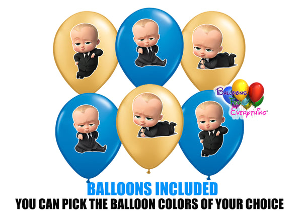 Boss Baby Party Balloons with Stickers