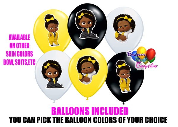 African American Yellow Boss Baby Balloons