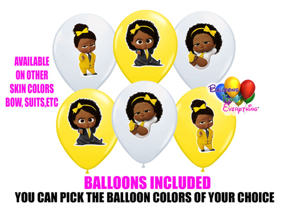 Yellow Boss Baby African American Birthday Balloons