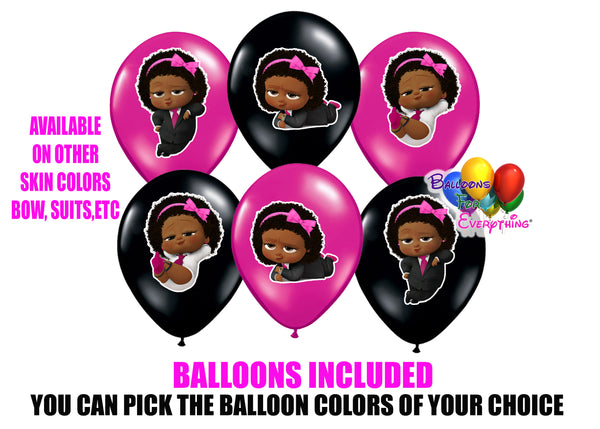 Dark Skinned Afro American Boss Baby Party Balloons