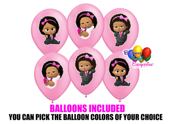 Boss Baby Light Skinned Pink Birthday Balloons