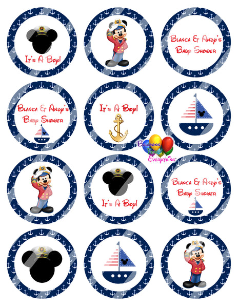 Nautical Mickey Mouse Sailor Baby Shower Cupcake Toppers