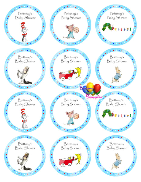 Story Book Baby Shower Cupcake Toppers Blue