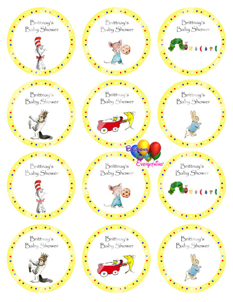Story Book Baby Shower Cupcake Toppers