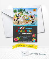 Mickey Mouse Pool Party Birthday Invitations