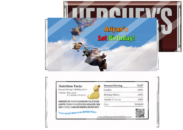 Up Up and Away Movie Birthday Candy Bar Wrappers