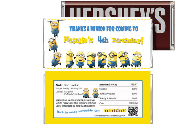 Despicable Me Birthday Candy Bar Wrappers