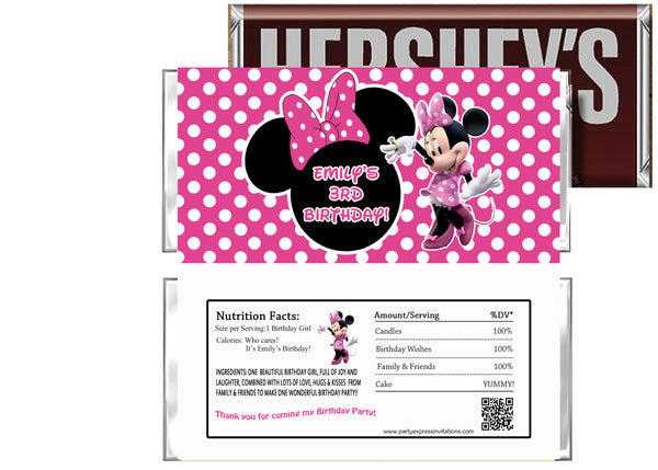 Hot Pink Minnie Mouse Birthday Candy Bar Wrapper