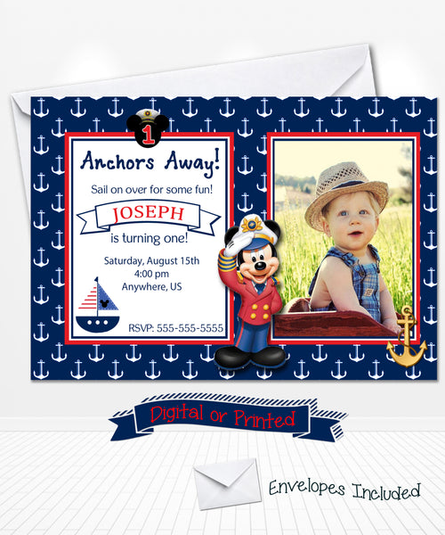 Nautical Mickey Mouse Sailor Birthday Invitation
