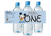 Baby Mickey 1st Birthday Water Bottle Labels