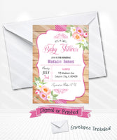 Watercolor Flowers Baby Shower Invitations