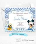 Baby Mickey Pluto Baby shower invitations