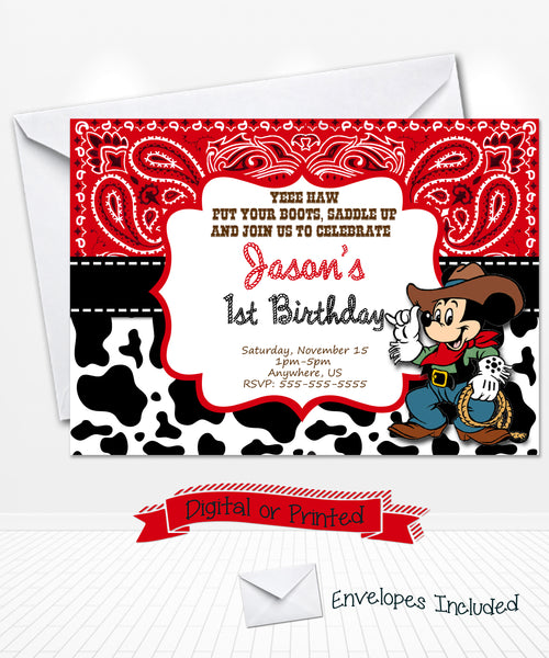 Mickey Mouse Cowboy Birthday Invitations