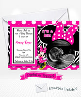 Hot Pink Minnie Mouse Baby shower invitations