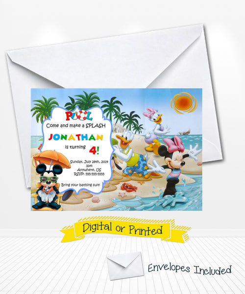 image relating to Disney Printable Envelopes titled Disney Mickey and Mates Pool Social gathering Birthday Invitation