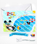 Mickey Mouse Pool Party Birthday Invitation