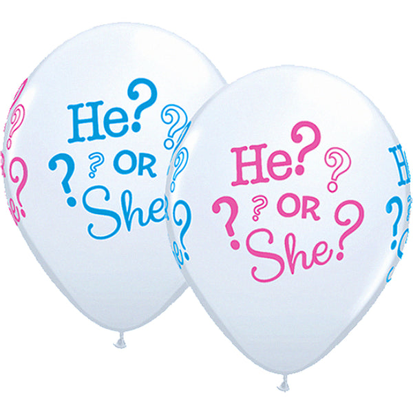 "He or She Gender Reveal 11"" Latex Balloons Baby Shower"