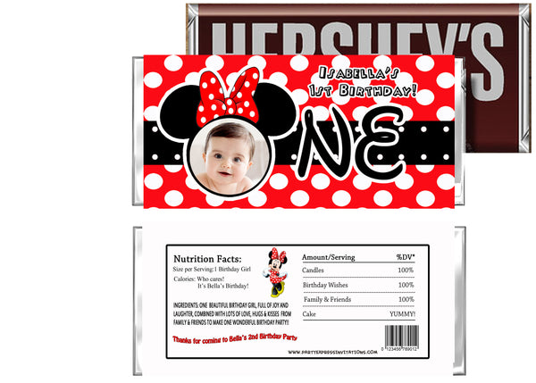 Red minnie 1st birthday party favors