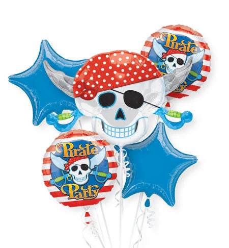 Skull Pirate Party Balloon Bouquet 5pc