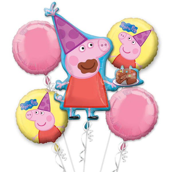 Peppa Pig Birthday Balloons Bouquet 5pc