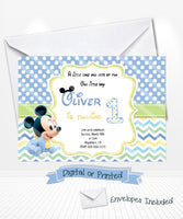 Blue Baby Mickey Mouse Birthday Invitations