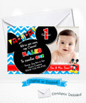 Mickey Mouse Birthday Blue Chevron Invitations